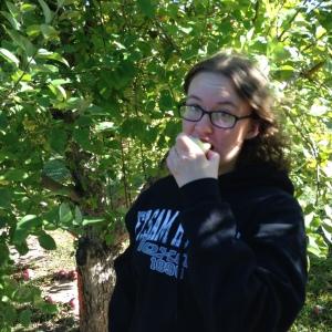Tasting a sample apple very tasty!